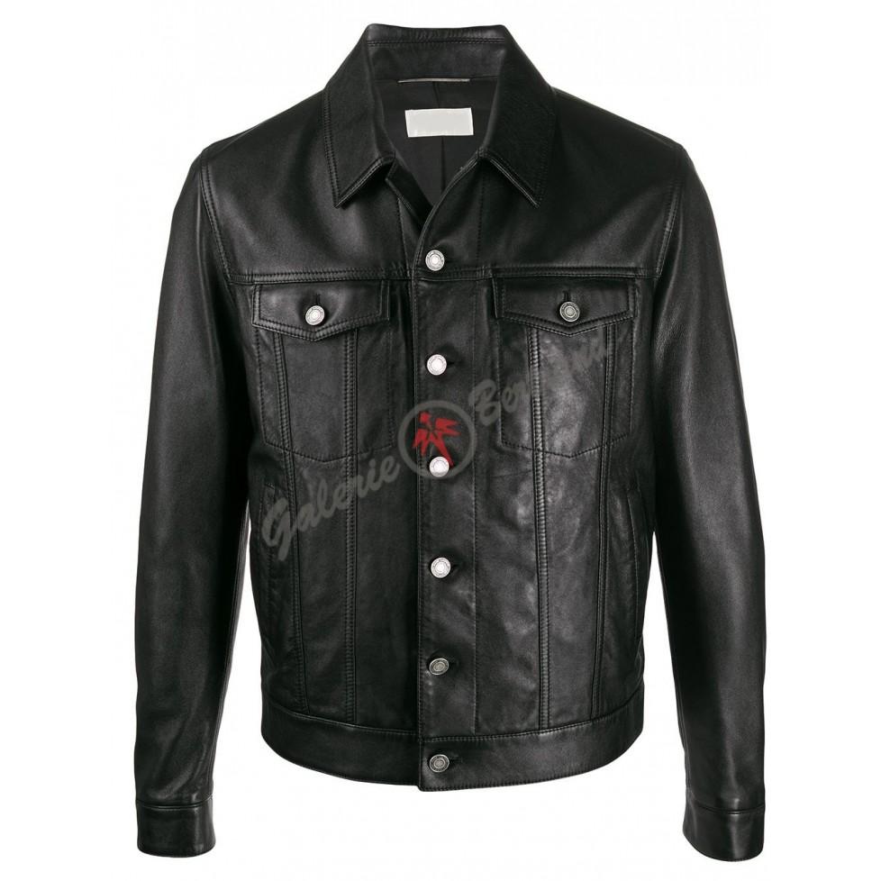 veste en cuir à poches boutonnées - Leonardo