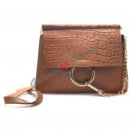 Black grained leather clutch
