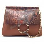 Leather large belt - brown color