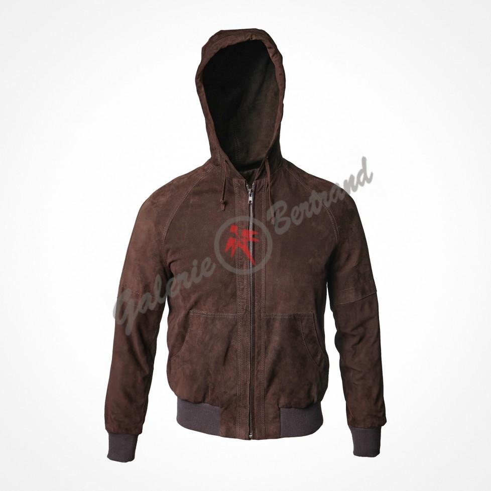 Crinkled leather saharan jacket